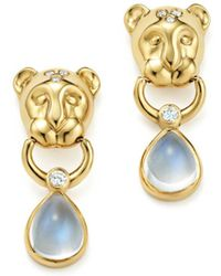 Temple St. Clair - 18k Yellow Gold Lion Cub Diamond And Royal Blue Moonstone Drop Earrings - Lyst