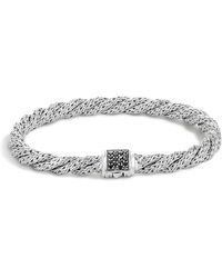 John Hardy - Classic Chain Sterling Silver Lava Extra Small Flat Twisted Chain Bracelet With Black Sapphire - Lyst