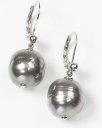 Majorica - Women's 12mm Baroque Grey Simulated Pearl Drop Earrings - Lyst