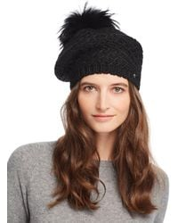 Echo - Fur Pom-pom Diamond-knit Beret - Lyst