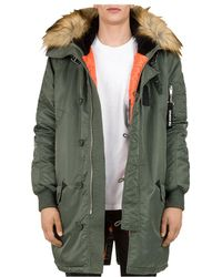 1167e25363 The Kooples - Oversized Contrast-fabric Parka Jacket - Lyst