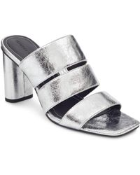 Kendall + Kylie - Kendall And Kylie Women's Leila Metallic Leather Block Heel Slide Sandals - Lyst