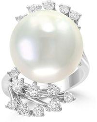 Bloomingdale's - Freshwater Pearl & Diamond Leaf Ring In 14k White Gold - Lyst