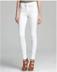 J Brand - High Rise Maria Skinny Jeans In Blanc - Lyst