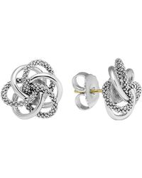 "Lagos - Sterling Silver Knot ""caviar"" Earrings - Lyst"
