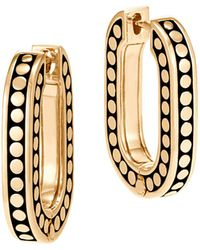 John Hardy | 18k Yellow Gold Dot Small Link Earrings | Lyst