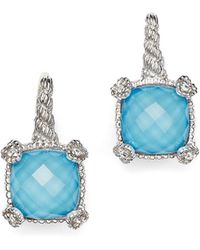 Judith Ripka - Cushion Heart Prong Earrings With White Sapphire And Turquoise Doublets - Lyst