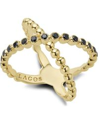 Lagos - Gold & Black Caviar Collection 18k Gold & Black Diamond Crossover Ring - Lyst