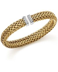 Roberto Coin | 18k Yellow Gold Primavera Woven Bracelet With Diamonds | Lyst