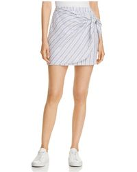 Three Dots - Striped Linen Faux-wrap Skirt - Lyst