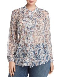 Vince Camuto Signature - Sheer Floral-print Ruffle Top - Lyst