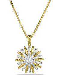 David Yurman - Starburst Small Pendant With Diamonds In Gold On Chain - Lyst