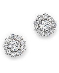 Bloomingdale's - Certified Diamond Halo Stud Earrings In 14k White Gold, 1.0 Ct. T.w. - Lyst