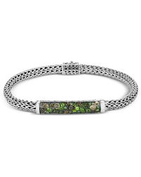 John Hardy - Sterling Silver Classic Chain Extra Small Bracelet With Green Tourmaline, Chrome Diopside & Peridot - Lyst
