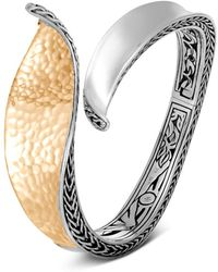 John Hardy - Sterling Silver & 18k Bonded Gold Classic Chain Hammered Hinged Bangle - Lyst