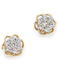 Bloomingdale's - Diamond Flower Stud Earrings In 14k Yellow And White Gold, .50 Ct. T.w. - Lyst