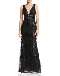 Betsy & Adam - Plunging Embellished Gown - Lyst
