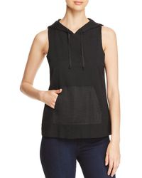 Kenneth Cole - Mixed-media Sleeveless Hoodie - Lyst