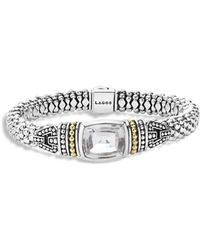 Lagos - 18k Gold And Sterling Silver Caviar Color Bracelet With White Topaz - Lyst