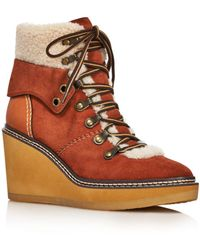 See By Chloé - See By Chloe Women's Eileen Shearling-lined Wedge Hiker Booties - Lyst