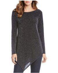 Karen Kane - Asymmetric Metallic Knit Tunic - Lyst