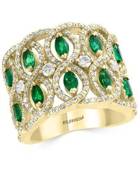 Bloomingdale's - Emerald & Diamond Interlocked Ring In 14k Yellow Gold - Lyst