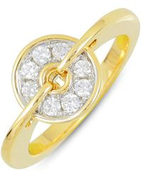 Frederic Sage - 18k White & Yellow Gold Diamond Small Spinning Disc Ring - Lyst