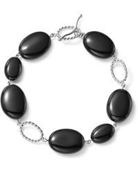 Bloomingdale's - Sterling Silver And Onyx Station Bracelet - Lyst