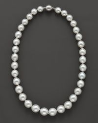 "Bloomingdale's - Cultured White South Sea Pearl Necklace In 14k White Gold, 18"" - Lyst"