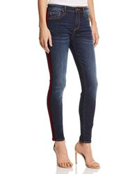 Aqua - Tuxedo Stripe Skinny Jeans In Dark Wash - Lyst