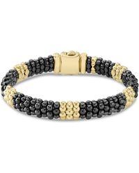 Lagos - Gold & Black Caviar Collection 18k Gold & Ceramic Beaded Five Station Bracelet - Lyst
