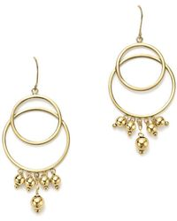 Bloomingdale's - 14k Yellow Gold Beaded Double Circle Drop Earrings - Lyst