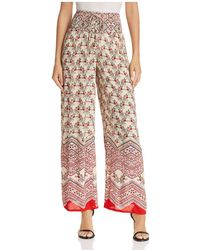 Aqua - Smocked-waist Wide-leg Trousers - Lyst