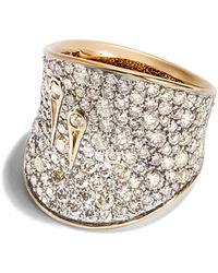 John Hardy - 18k Yellow Gold Cinta Collection One - Of - A - Kind Bamboo Saddle Ring With Yellow & Champagne Diamond - Lyst