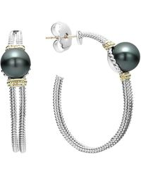Lagos - 18k Gold And Sterling Silver Luna Cultured Freshwater Black Pearl Hoop Earrings - Lyst