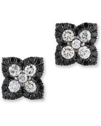 Bloomingdale's - Black And White Diamond Clover Stud Earrings In 14k White Gold - Lyst
