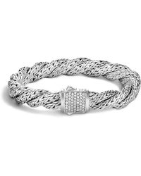John Hardy | Classic Chain Sterling Silver Medium Flat Twisted Chain Bracelet With Diamond Pavé | Lyst