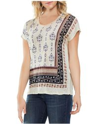 Vince Camuto - Printed Cap-sleeve Linen Tee - Lyst