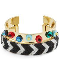 BaubleBar - Etana Sequined & Woven Open Cuff Bracelets - Lyst