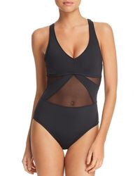 Bleu Rod Beattie - V-neck Mesh One Piece Swimsuit - Lyst
