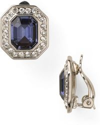Carolee - Royal Blue Crystal Button Clip - On Earrings - Lyst