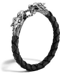 John Hardy - Men's Naga Silver Black Woven Leather Dragon Bracelet - Lyst