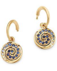 Shebee - 14k Yellow Gold Tsavorite & Green Sapphire Spiral Charm Drop Earrings - Lyst