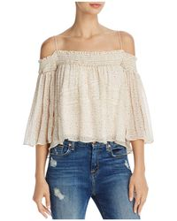 Rebecca Minkoff | Casey Smocked Cold-shoulder Floral-print Top | Lyst