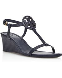 08e7cb514f1e Tory Burch - Women s Miller Leather Wedge Sandals - Lyst