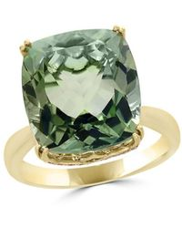 Bloomingdale's - Prasiolite Cushion And Diamond Ring In 14k Yellow Gold - Lyst