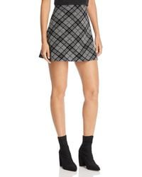 Aqua - Flocked Plaid A-line Mini Skirt - Lyst