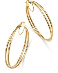 Bloomingdale's - Crossover Hoop Earrings In 14k Yellow Gold - Lyst