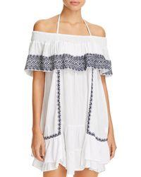7921a76aa1d Muche Et Muchette - Gavin Embroidered Off-the-shoulder Ruffle Dress Swim  Cover-