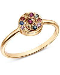 Shebee - 14k Yellow Gold Diamond Mini Spiral Ring - Lyst